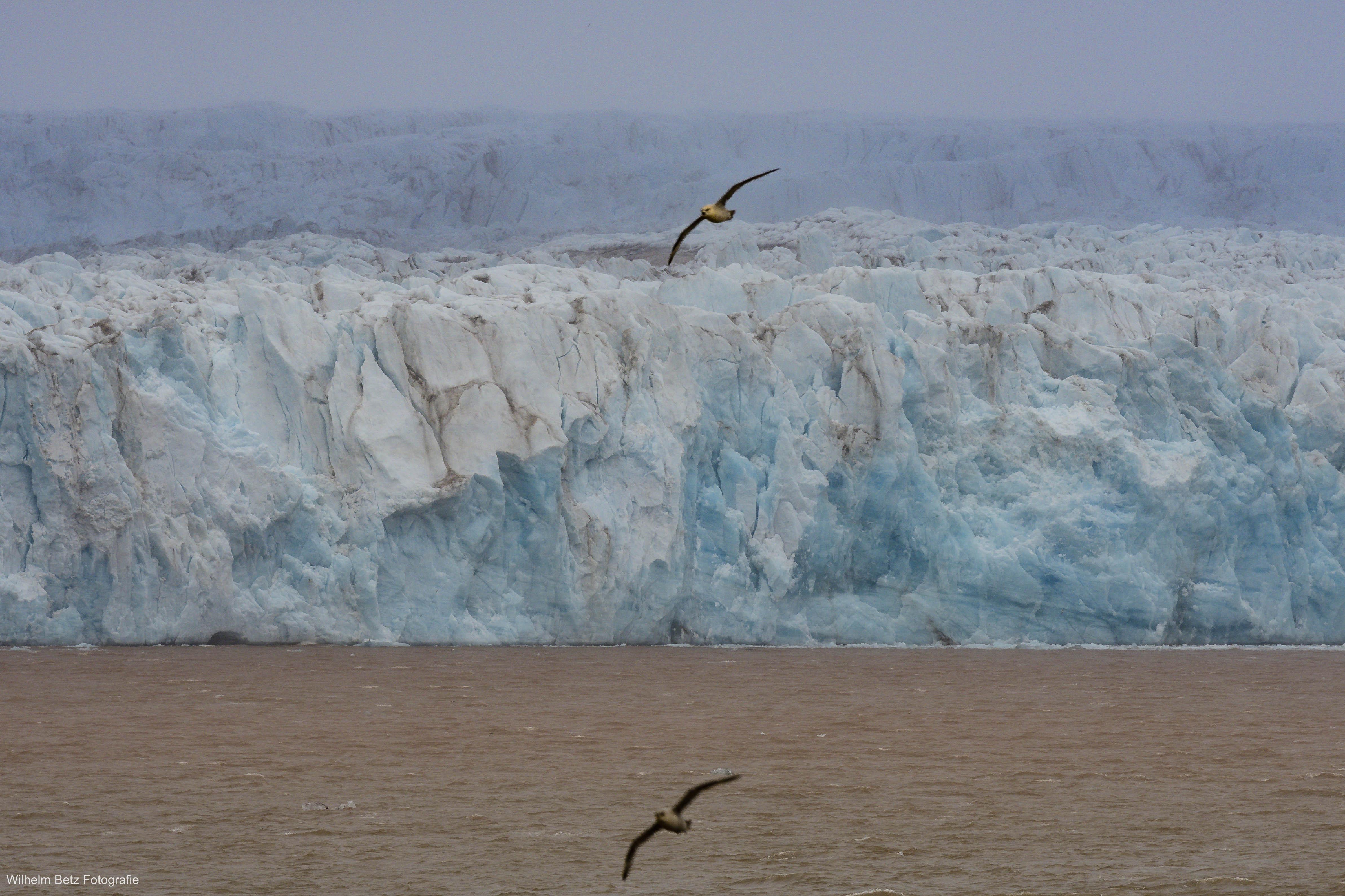 Schön blau leuchtet die Gletscherwand